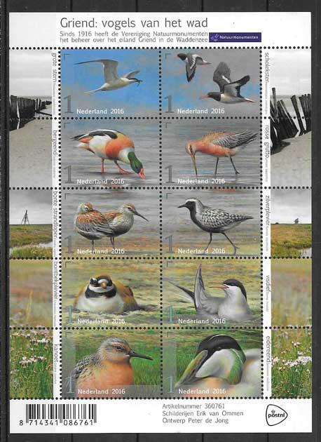 filatelia colección fauna Holanda 2016