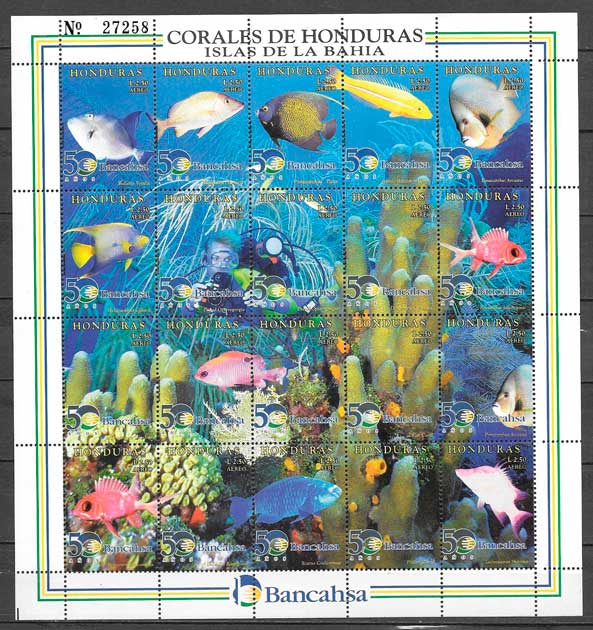 sellos fauna Honduras 1998
