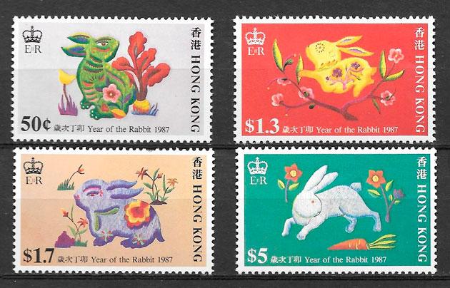 sellos año lunar Hong Kong 1987