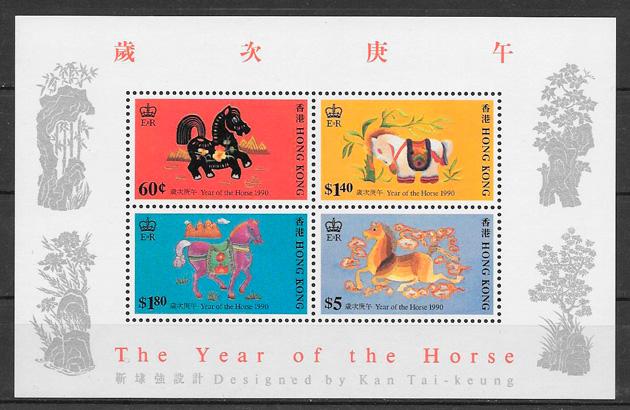 coleción sellos año lunar Hong Kong 1990