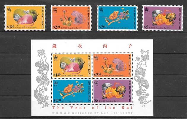 Colección sellos año chino lunar rata