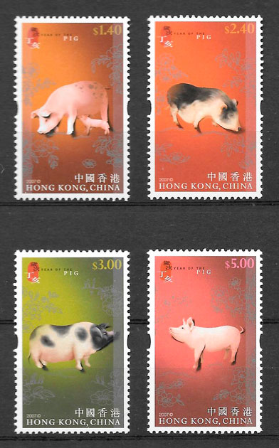 filatelia año lunar Hong Kong 2007