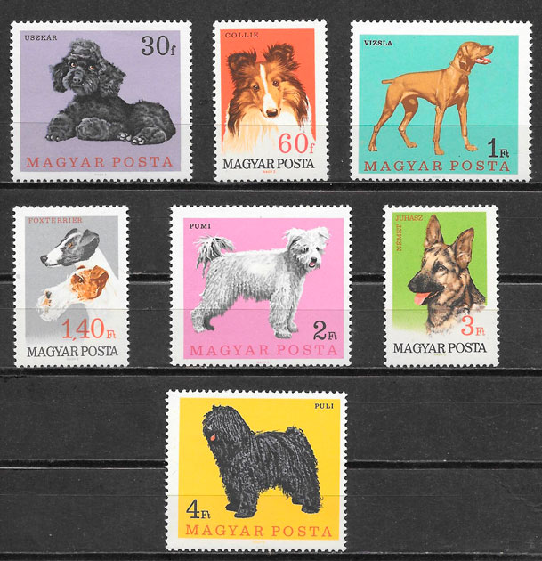 sellos gatos y perros Hungría 1967