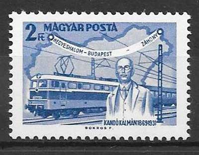 sellos trenes Hungría 1968