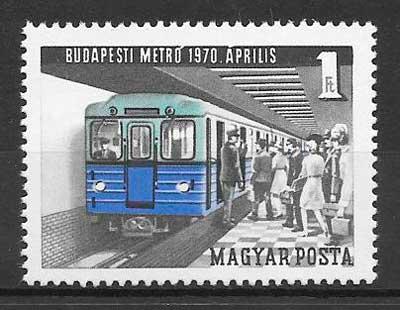 sellos trenes Hungría 1970