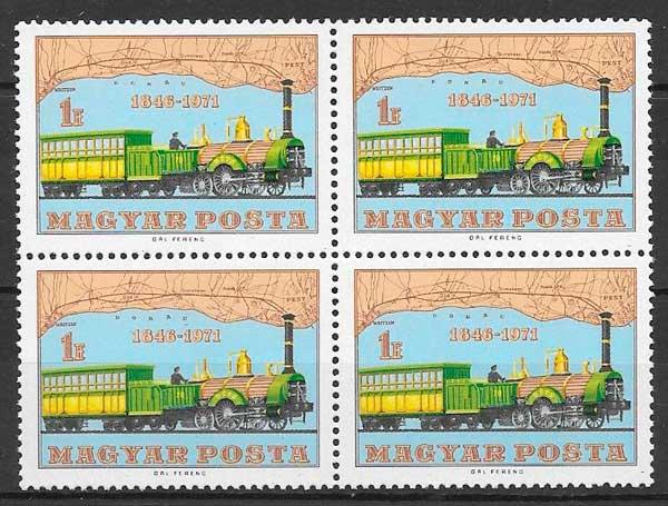 sellos trenes Hungría 1971