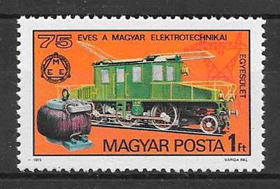 filatelia colección trenes Hungría 1975