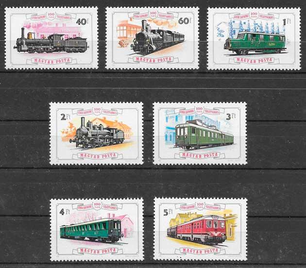 filatelia coleeción trenes Hungría 1976