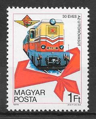 filatelia colección Hungría 1978 trenes