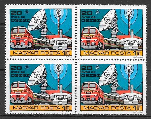 colección sellos trenes Hungría 1978