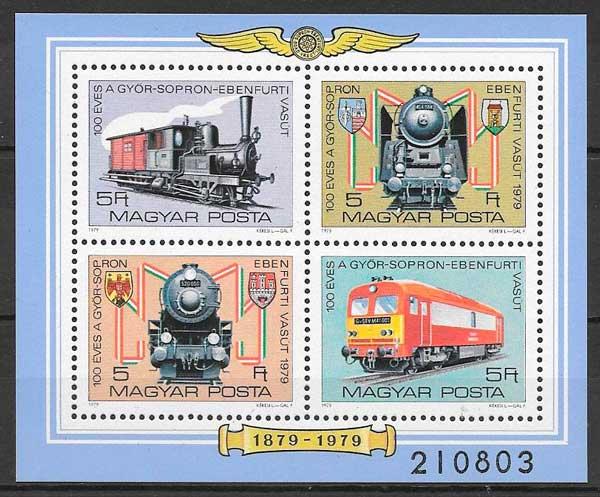 colección sellos trenes Hungría 1979
