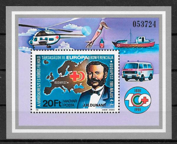 filatelia cruz roja Hungría 1981