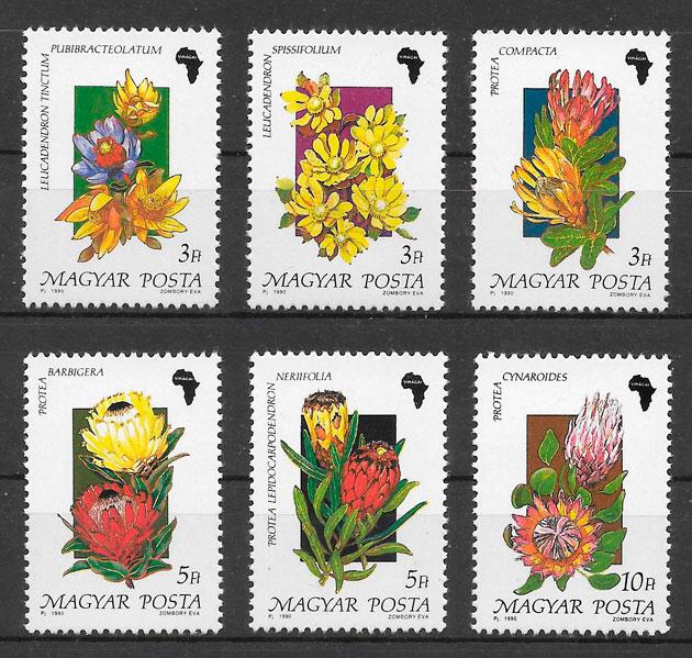 colección sellos flora Hungría 1990