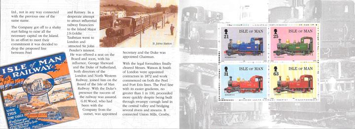 filatelia colección trenes Isla de Man 1998