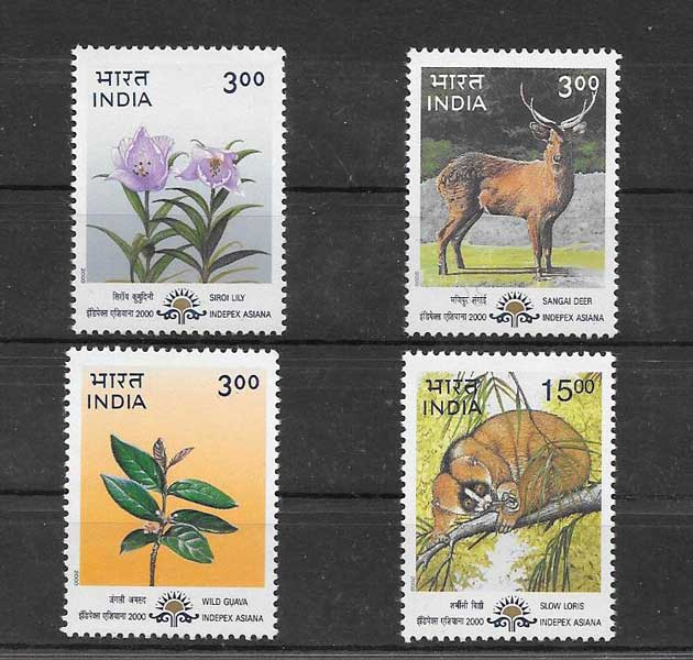 Colección sellos serie de fauna y flora de la india