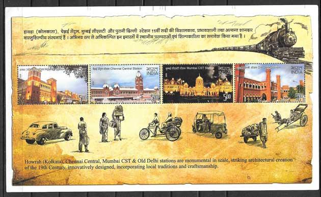 Colección sellos estaciones ferroviaria indias