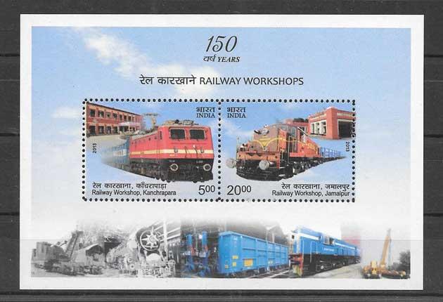 Colección sellos transporte ferroviario de India 2013
