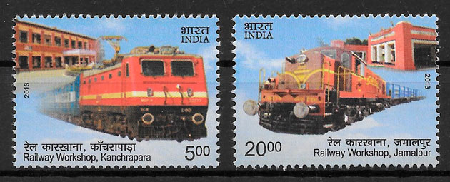 filatelia trenes India 2013