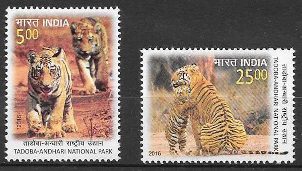 filatelia colección fauna India 2016