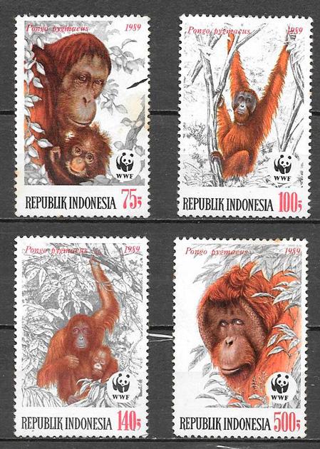 filatelia colección fauna wwf Indonesia 1989