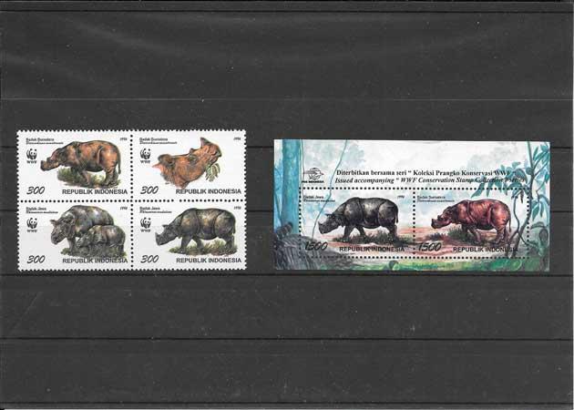 Colección Sellos protección de la fauna - rinoceronte