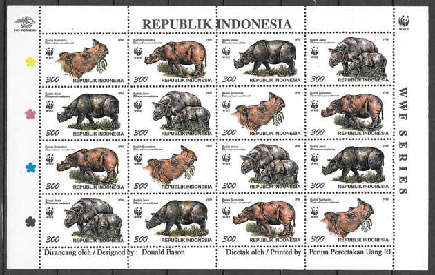 sellos colección fauna Indonesia 1996