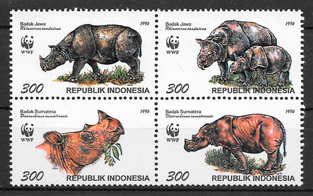 filatelia colección fauna wwf Indonesia 1996