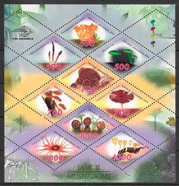 filatelia colección setas Indonesia 1999