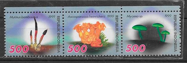 colección sellos hongos Indonesia 1999