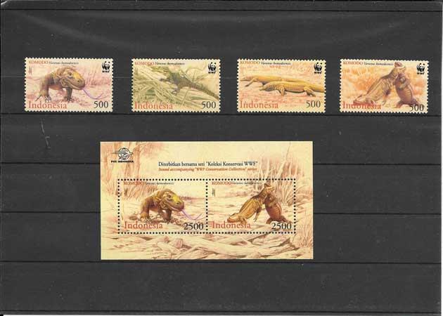 Colección Sellos serie de fauna el Varan de Komodo