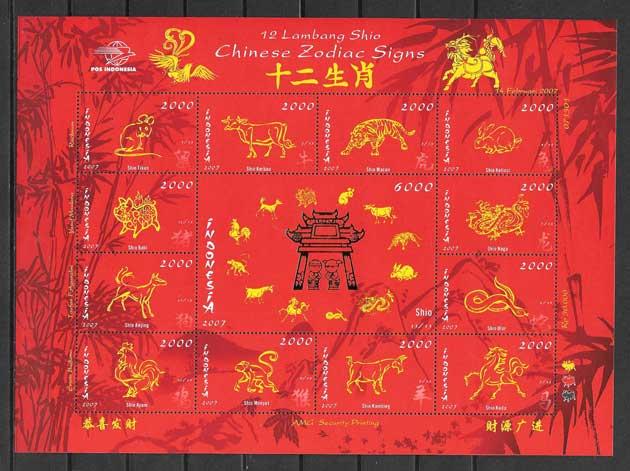 Estampillas año chino lunar Indonesia