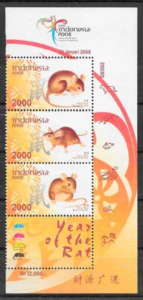 sellos colección año lunar Indonesia
