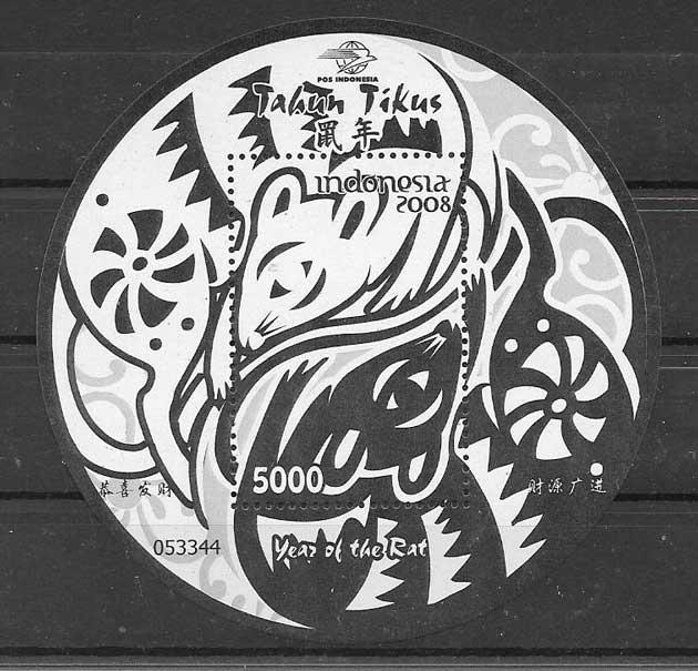 Sellos filatelia año lunar rata Indonesia-2008-02