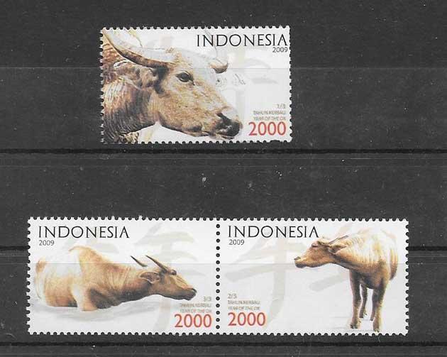 Sellos filatelia año lunar el búfalo