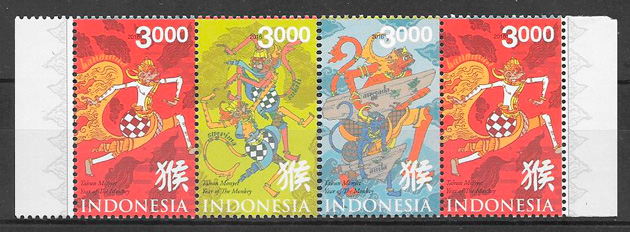 filatelia colección año lunar de Indonesia