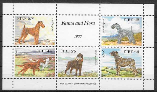 sellos gatos y perros Irlanda 1983