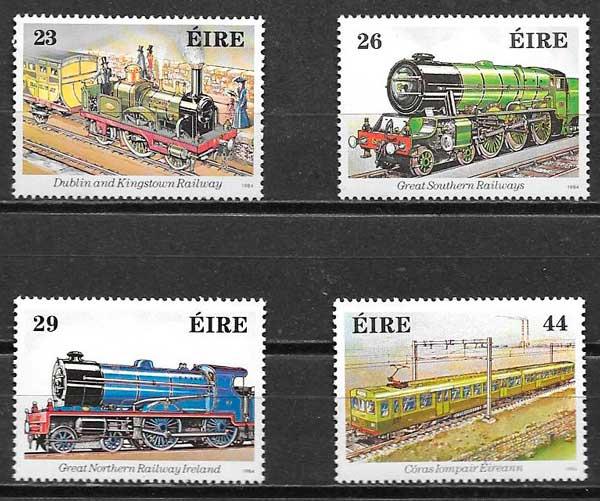 sellos trenes Irlanda 1984