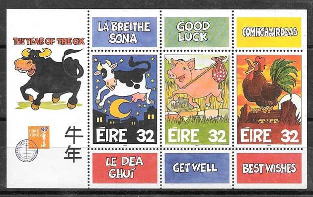sellos año lunar buey Irlanda 1997