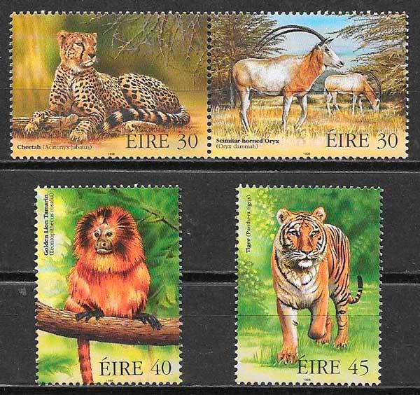 colección sellos fauna Irlanda 1998