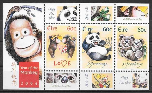 Filatelia año lunar mono Irlanda 2004
