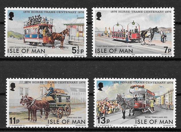 sellos trenes Isla de Man 1976