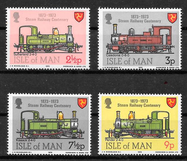 sellos trenes Isla de Man 1973