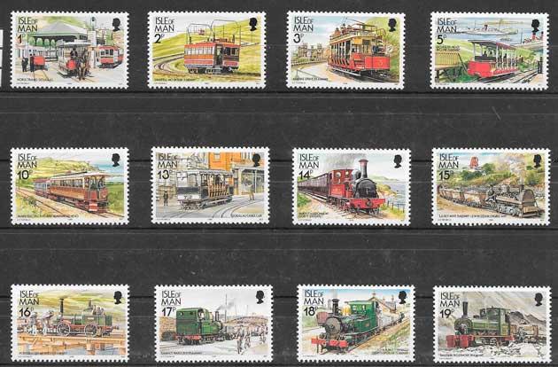sellos colección trenes Isla de man 1988