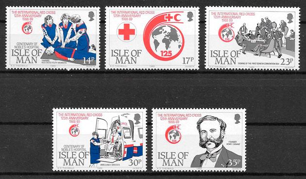 selos cruz roja Isla de Man 1989
