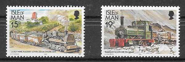 sellos colección trenes Isla de Man 1990