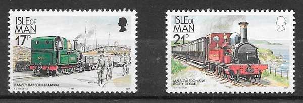 sellos colección trenes Isla de Man 1991