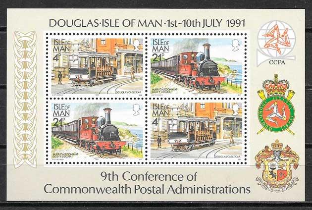 colección sellos trenes Isla Man 1991