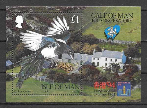 Filatelia sellos Hojita fauna Isla de Man 1992