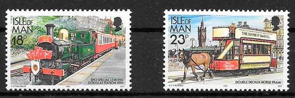 colección sellos trenes Isla de man 1992