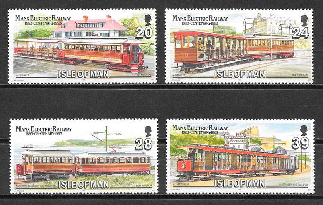sellos trenes Isla de Man 1993